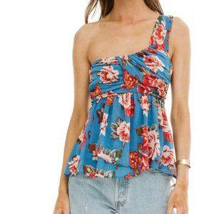 NEW ASTR The Label One Shoulder Floral Top